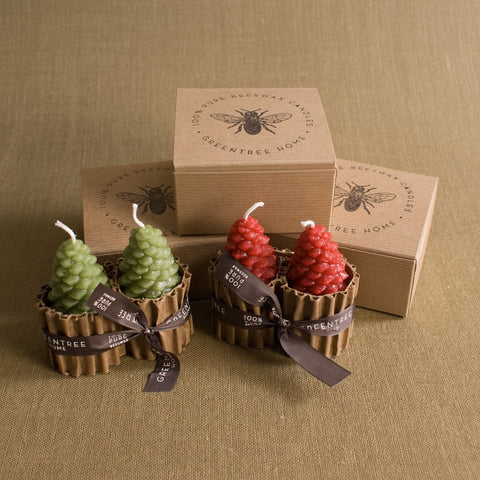 Small Pinecone Beeswax Candles