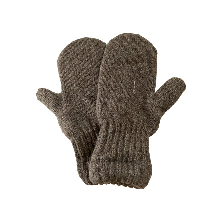 Women's Mohair Mittens with Deerskin Palm - Driftwood Brown