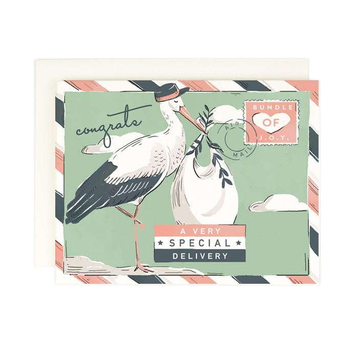 Special Delivery Stork Baby Card - AH4