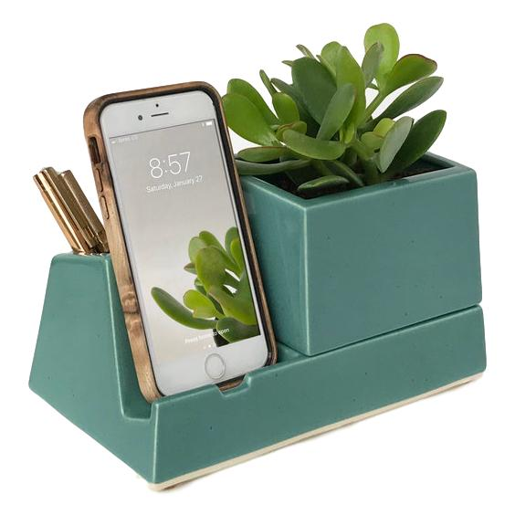Ceramic Phone Dock Planter in Teal