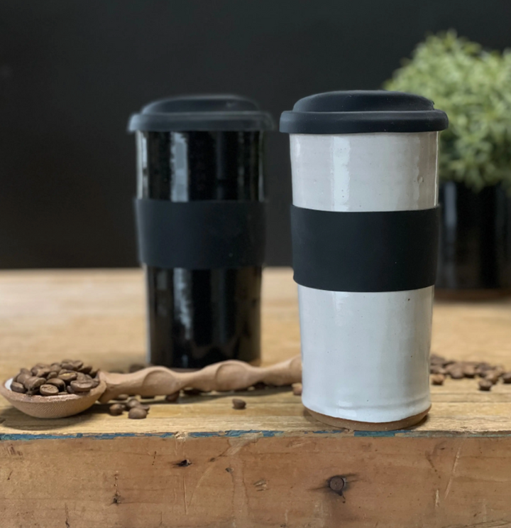 Large Stoneware Travel Mug - White