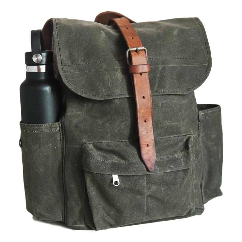 Little Rogue Wax Canvas Backpack in Moss