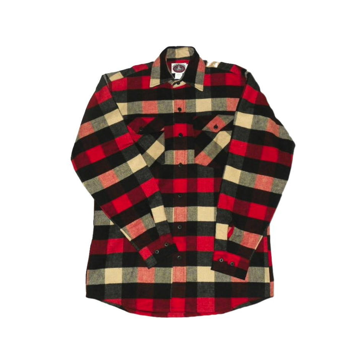 Red, White, & Black Plaid Men's Flannel Shirt