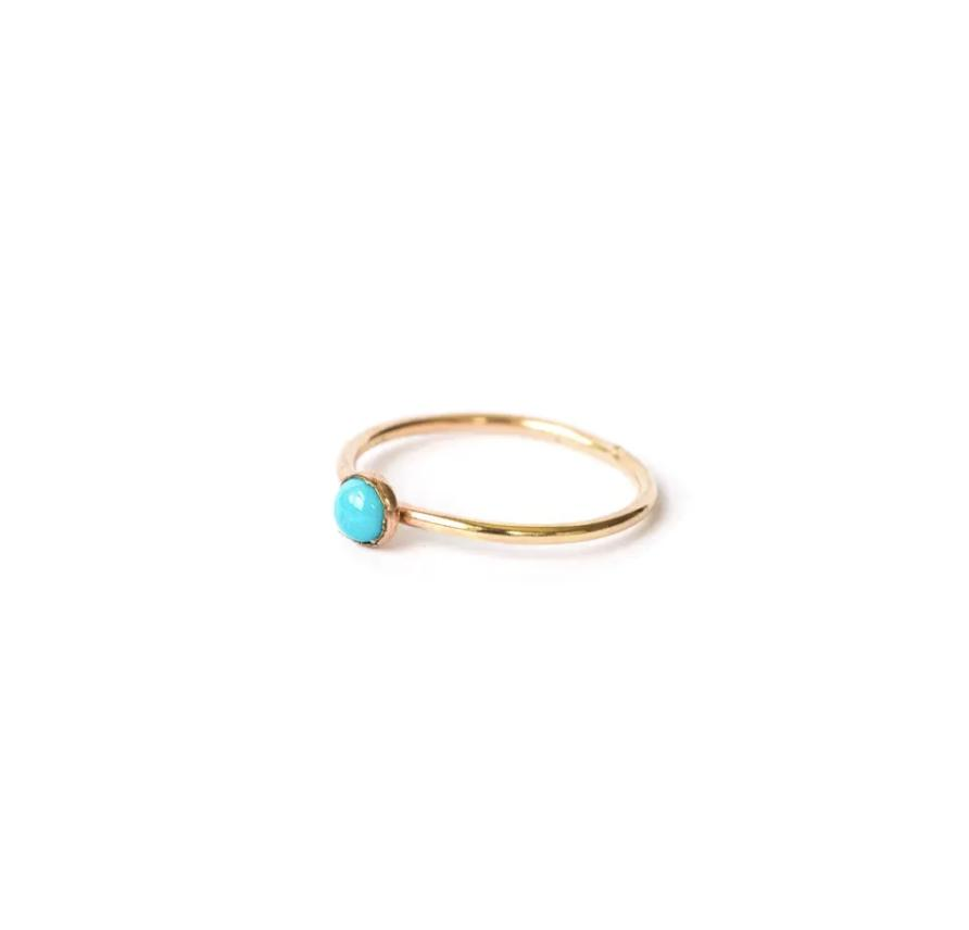 Turquoise Single Stone Ring Gold