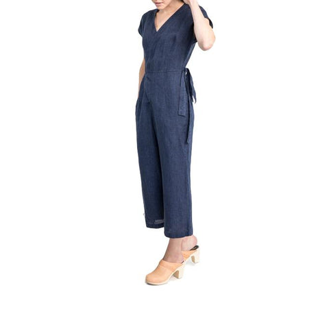 Short Sleeve Wrap Linen Jumpsuit - Indigo