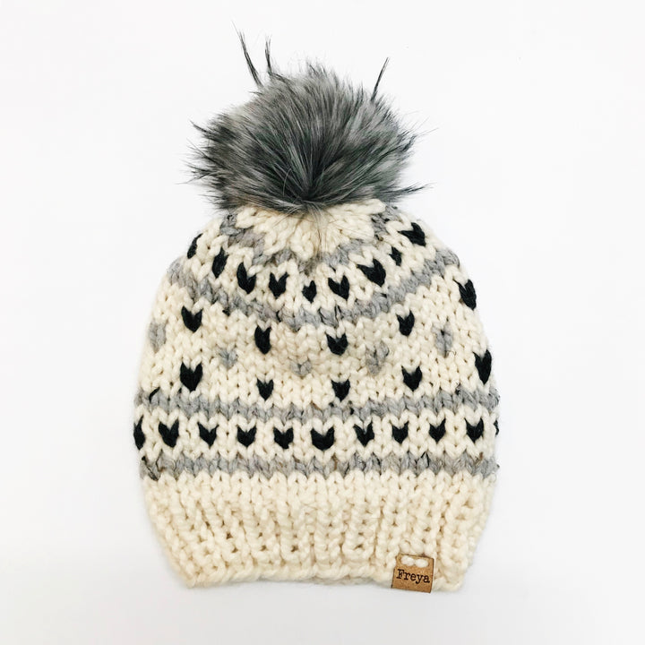 Hand Knit Fargo Hat with Faux Fur Pom