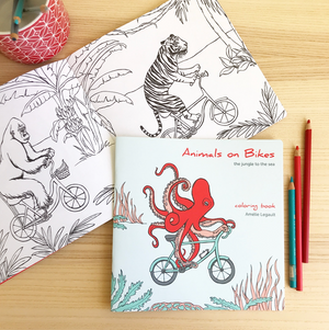 Jungle to Sea Animals on Bikes Coloring Book