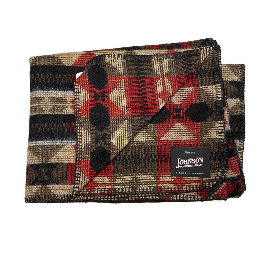 Johnson Woolen Mills Norris Throw - Hearthstone Black Red & Tan Triangles