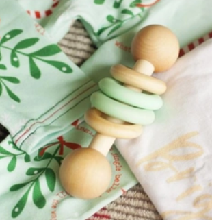 Silicone & Wood Baby Rattle - Mint
