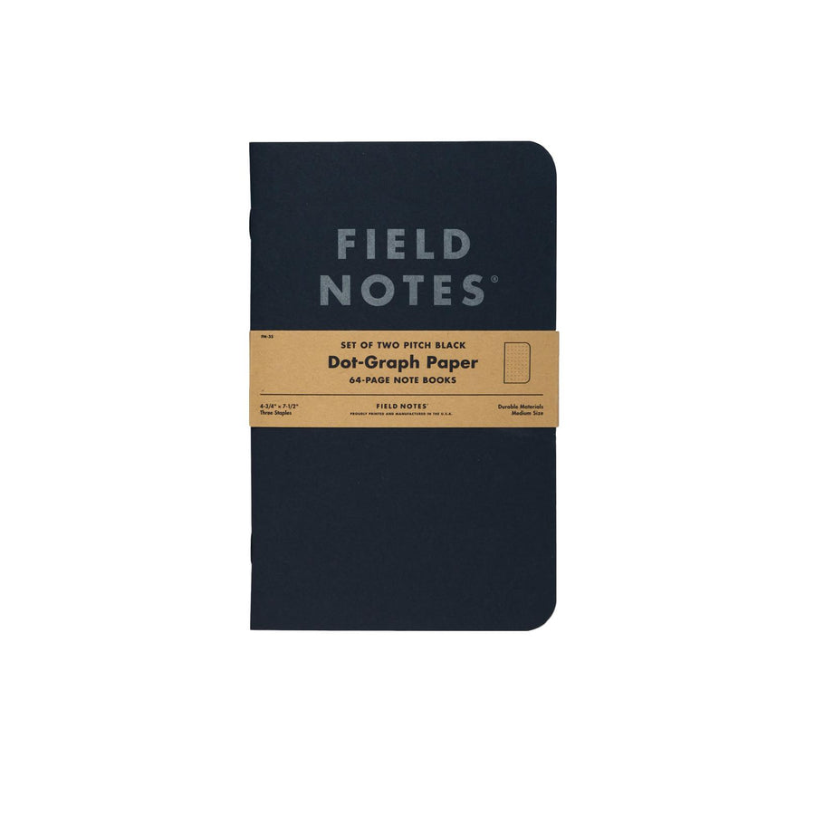 Field Notes Pitch Black Notebook 2 Pack - Dot-Graph