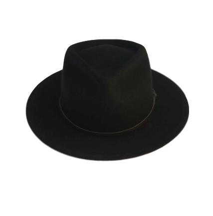 Merino Wool Eastwood Fedora - Black