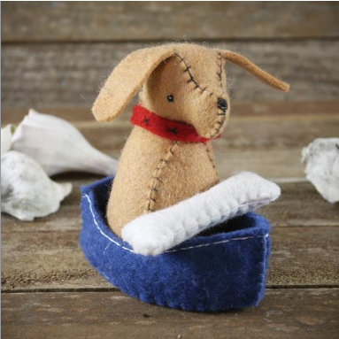 Dog & Bone in a Boat Felt Set