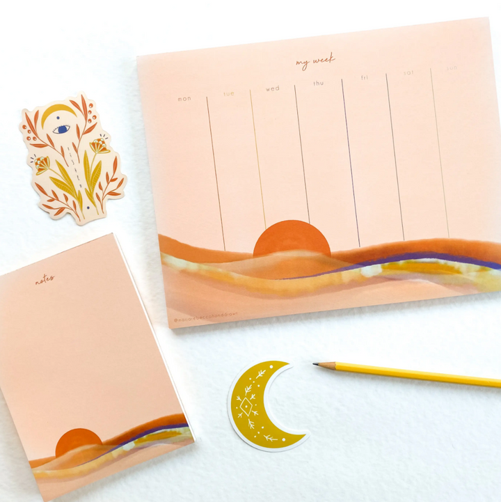Pink Sunset Weekly Planner Notepad