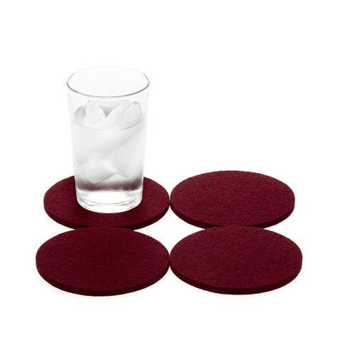 Round Charcoal Felt Coasters in Burgundy
