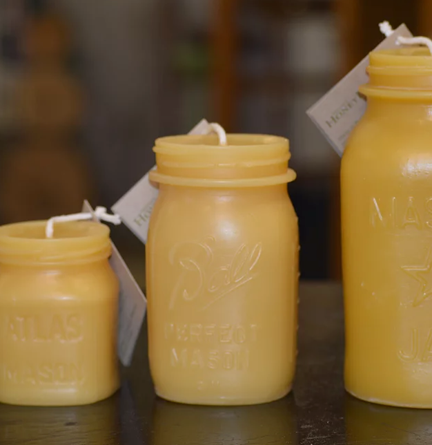 Solid Beeswax Candle - Mason Jar Pint