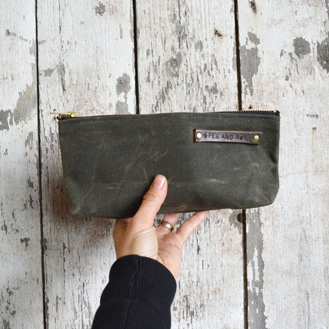 Medium Waxed Canvas Pouch