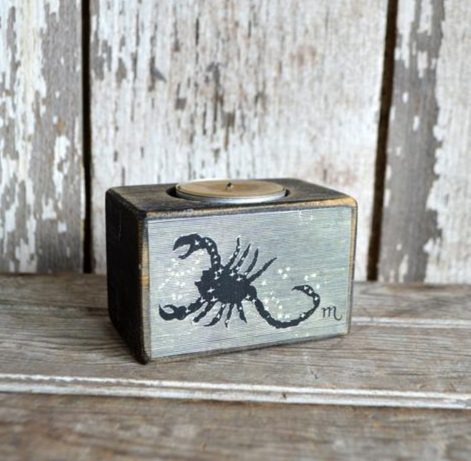 Scorpio Candle Reclaimed Blackened Wood Block