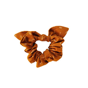 Cotton Bow Scrunchie - Mustard Zig Zag