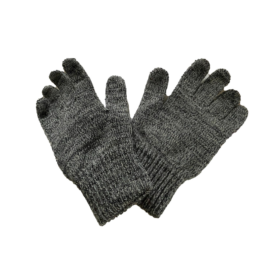 Men's Unlined Wool Glove with Deerskin Palm - Charcoal