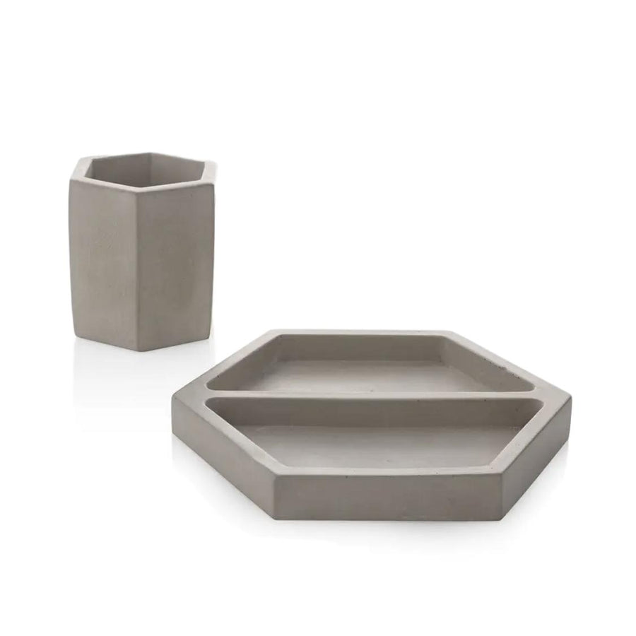 Concrete Hex Desk Set Gray