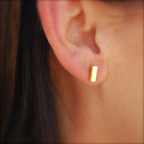Thick Bar Stud in 14k Gold Vermeil