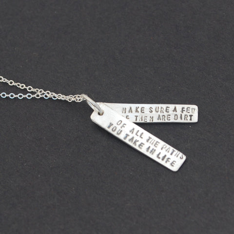John Muir Paths in Life Quote Necklace in Silver