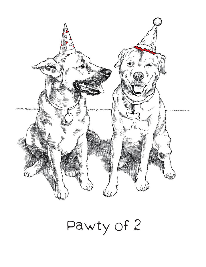 Pawty of Two Dogs Birthday Card - AA5
