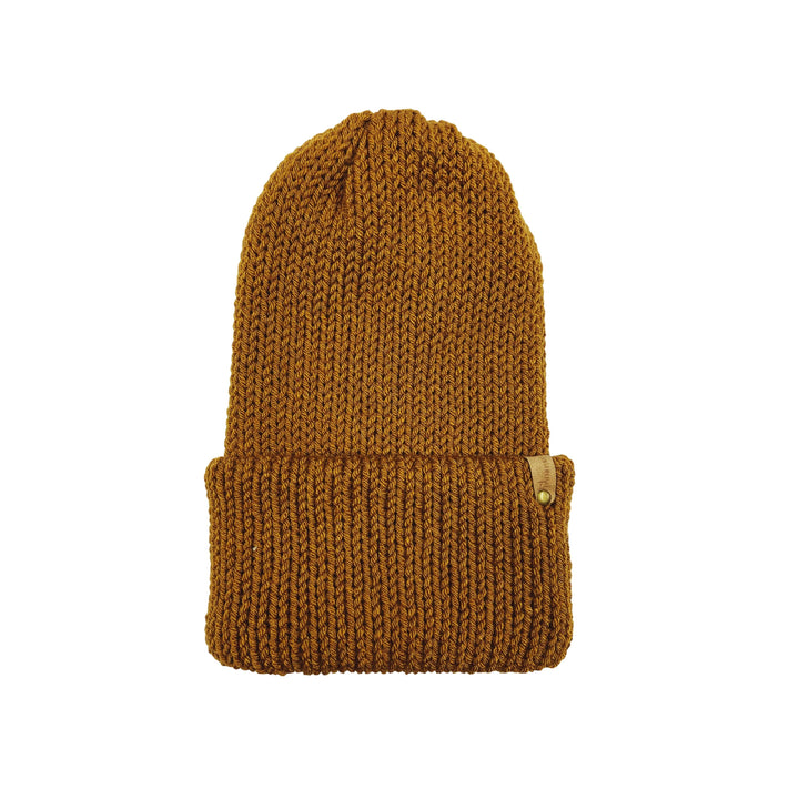 Hand Knit Log Cabin Beanie - Tobacco Yellow