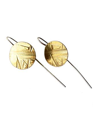Brass Flat Disk Earrings