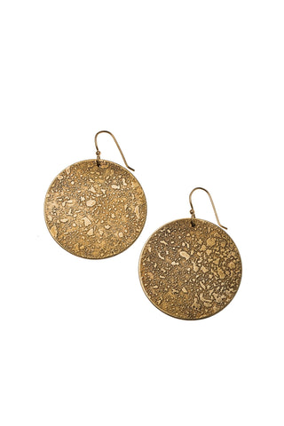 Etched Moon Brass Earrings