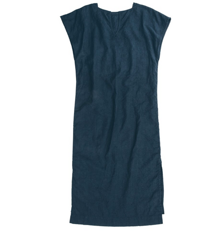 Navy Linen Shift Dress