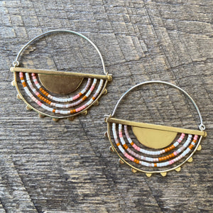 Hemisphere Bloom Earrings Brass