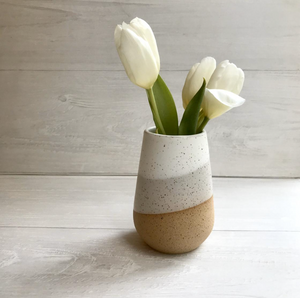 Ceramic Bud Vase - Speckled & White