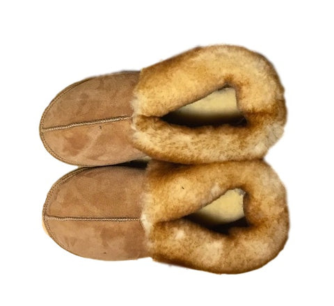 Made in Vermont Shearling Sheepskin Slippers Short Cuff, Sheepskin Sole, Women's Sizes