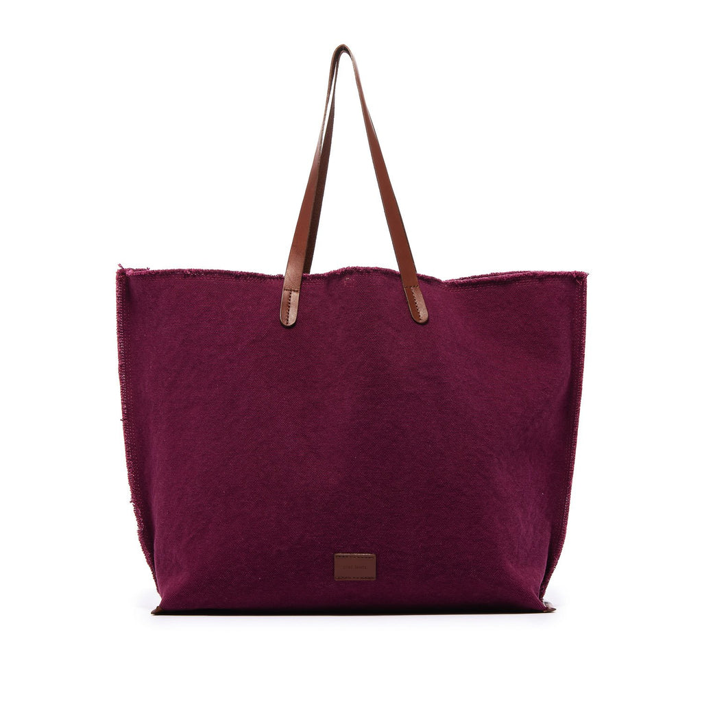 Hana Boat Bag in Rosewood Canvas/Sienna Leather