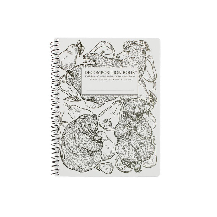 Coilbound Decomposition Lined Notebook - Pear Bears