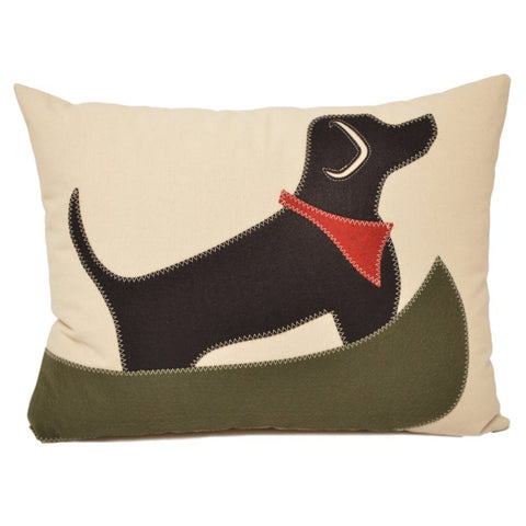 Black Lab, Olive Canoe Pillow 18x21