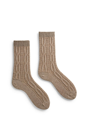 Cashmere/Wool Chunky Cable Crew Women's Socks