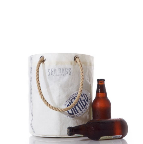 Sailcloth Beverage Bucket Tote Cooler in White