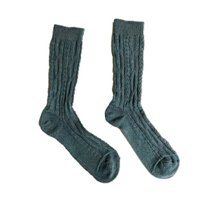 Cashmere/Wool Chunky Cable Crew Women's Socks - Mineral Blue