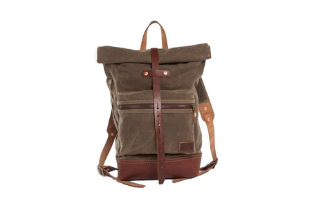 The Biographer Waxed Canvas Rucksack in Field Tan