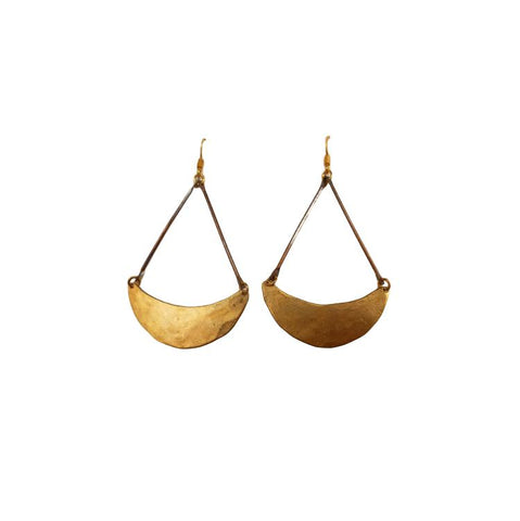 Brass Sickle Earrings