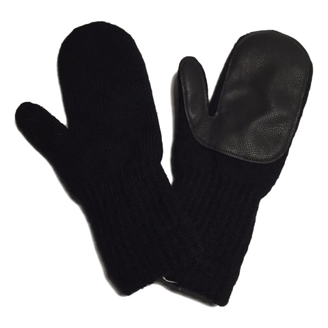 Black Wool Mittens with Deerskin Palms