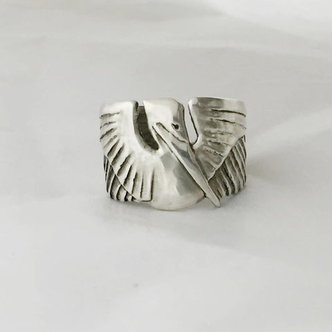 Pelican Cuff Ring in Sterling Silver