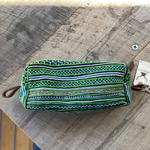 FINAL SALE Hand Embroidered Green Toiletry Bag