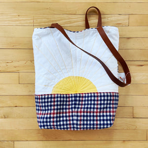 El Baul Hand-Dyed Quilted Tote - Sun Motif
