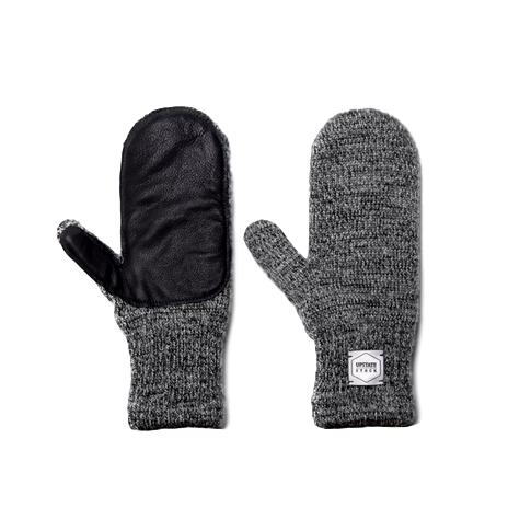 Ragg Wool Mitt With Deerskin Palm - Charcoal
