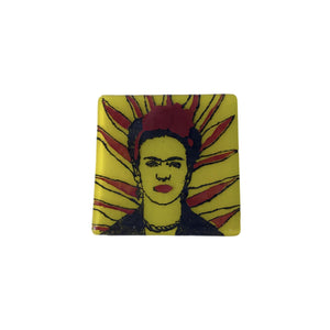 Frida Kahlo Rays Glass Coaster