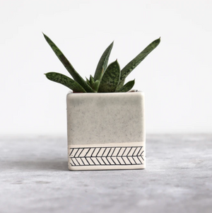 Herringbone Square Planter in Seafoam