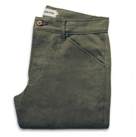 The Men's Camp Pant Olive Herringbone
